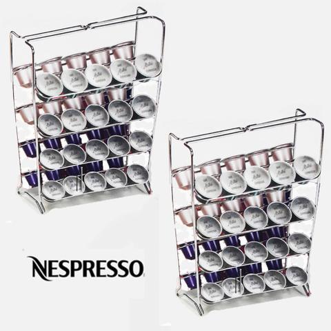 Imagem de Kit 2 Suporte Porta Cápsulas de Café Expresso Nespresso Arthi 1624 Aço Cromado