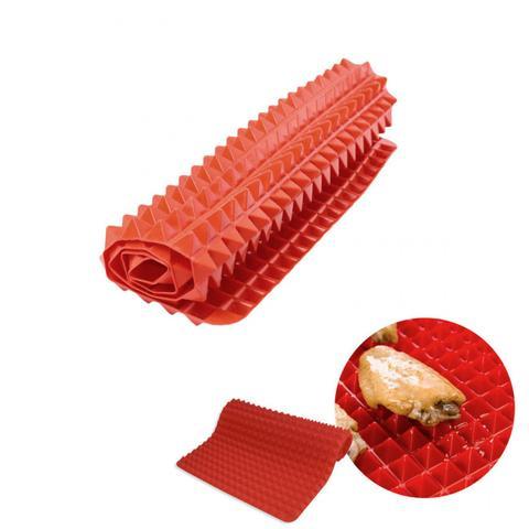 Imagem de Kit 2 Tapetes Culinario para Forno em Silicone Antigordura e Antiderrapante Vermelho  Clink