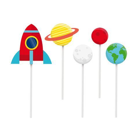 Imagem de Kit 2 Topos De Bolo Espeto Astronauta Sortido Dec. Festas