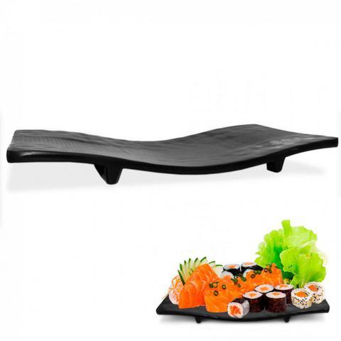 Imagem de Kit 2 Travessas Ondulada + 8 Pratos Concavo em Melamina/Plastico para Sushi Preto  Utilgoods