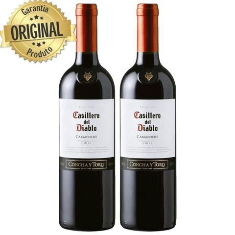 Imagem de Kit 2 Vinho Importado Chileno Casillero Del Diablo Carmenere Tinto 750ML