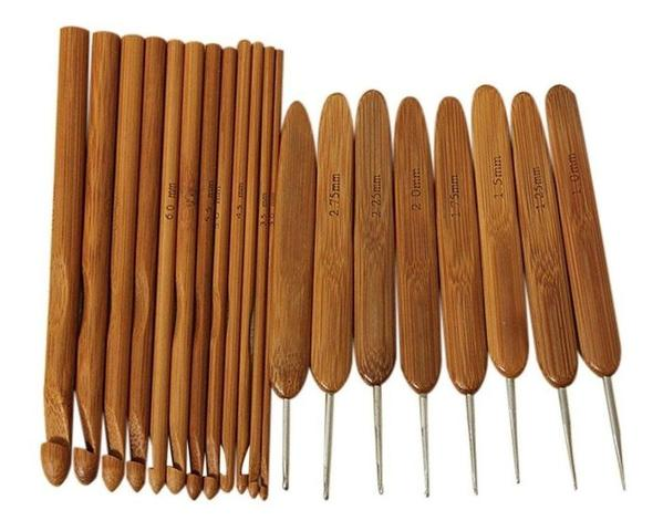 Imagem de Kit 20 Agulhas Crochê Cabo Bambu Com Case