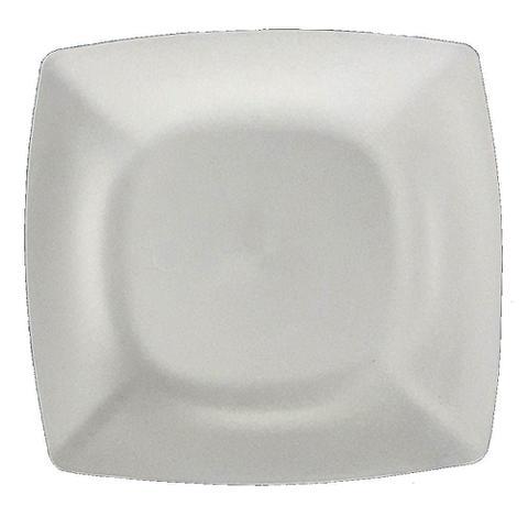 Imagem de Kit 24 Pratos Sobremesa Plástico Rígido Quadrado Lavável de Festa Buffet 18x18 Cm Cor: Branca