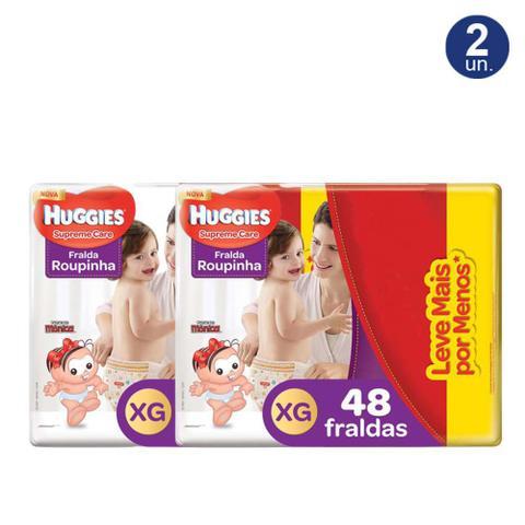 Imagem de Kit 2X 48 Fraldas Fralda Roupinha Huggies Supreme Care Tamanho XG Pacote Hiper Descartáveis