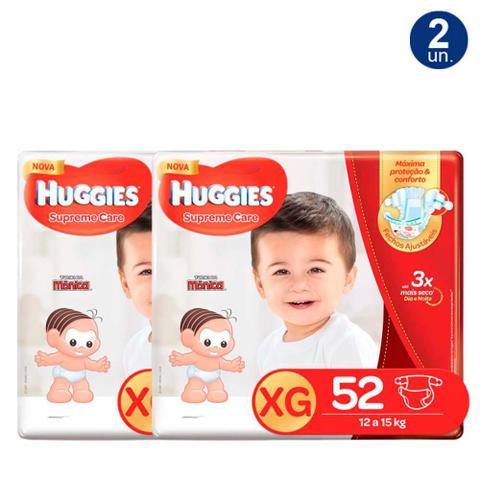 Imagem de Kit 2X 52 Fraldas Fralda Huggies Supreme Care Tamanho XG Pacote Hiper Descartáveis
