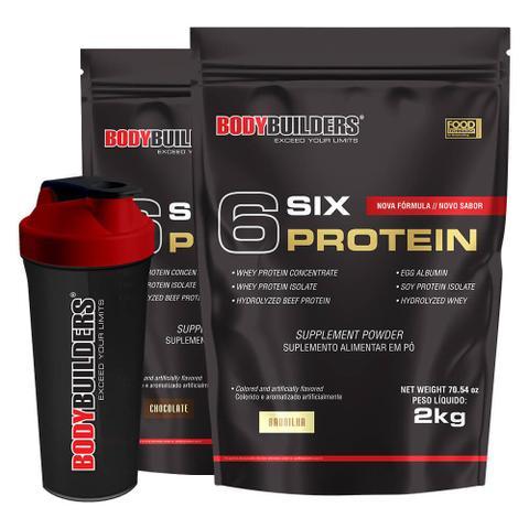Imagem de Kit 2x 6 Six Protein 2kg (1 Chocolate + 1 Baunilha) + Coqueteleira  Bodybuilders