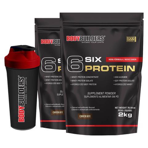 Imagem de Kit 2x 6 Six Protein 2kg Chocolate + Coqueteleira  Bodybuilders