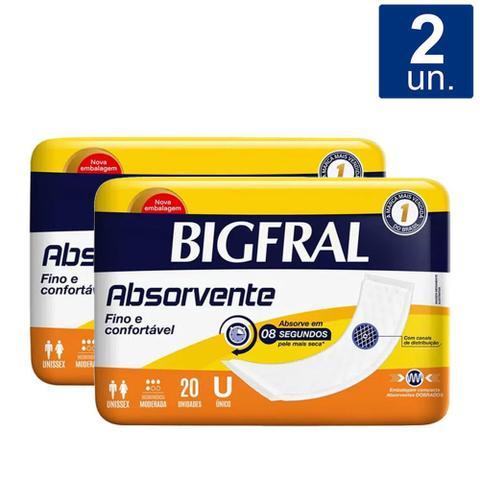 Imagem de Kit 2X Absorvente Geriátrico Bigfral com 20 Unidades
