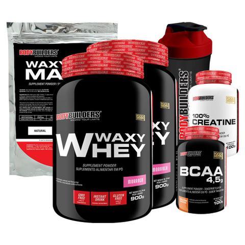 Imagem de Kit 2x Waxy Whey 900g Mor + BCAA 100g+ Creatine 100g + Waxy Maize 800g + Coquet.  Bodybuilders