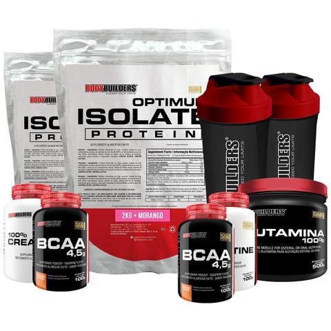 Imagem de Kit 2xOptimum Isolate Whey Protein 2kg Morango +2xBcaa100g+2xCreatina100g +Glutamina 500g +2x Coqueteleira-Bodybuilders