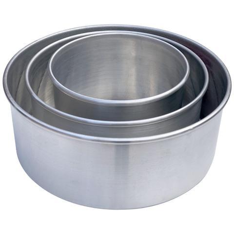Imagem de Kit 3 Assadeiras Formas Redondas Para Bolo em Alumínio Borda Alta Reforçada