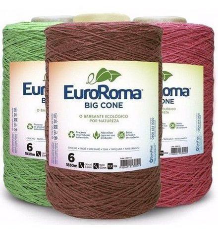 Imagem de Kit 3 Barbante Euroroma 1.8kg Colorido N6 Cores Variadas