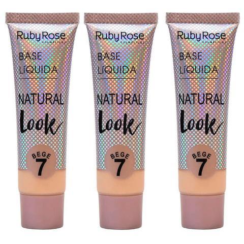 Imagem de Kit 3 base líquida natural look bege 7 ruby rose
