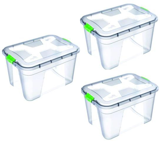 Imagem de Kit 3 Caixas Organizadoras Transparente 56 Litros - Uninjet