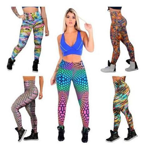 Imagem de Kit 3 Calça Legging Suplex Feminina Estampada Moda Fitness