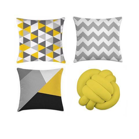 Imagem de kit 3 capas de almofadas geométrica amarelo + 1 almofada de