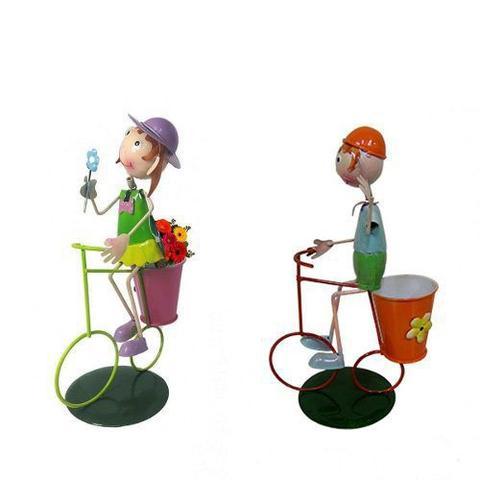 Imagem de Kit 3 Casais De Bonecos Bicicleta Enfeitar Decorar Jardim