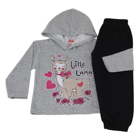 Imagem de Kit 3 Conjunto Moletom Infantil Feminino de Inverno Tecido Flanelado Com Capuz Cores Diversas