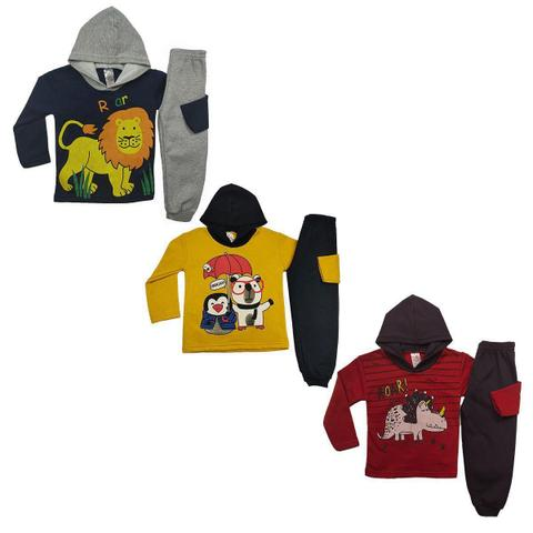 Imagem de Kit 3 Conjunto Moletom Inverno Infantil Masculino Tecido Flanelado Capuz Cores Diversas