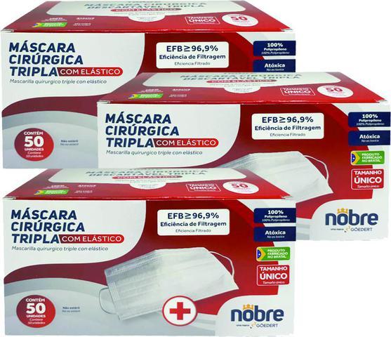 Imagem de Kit 3 cxs 50 un p/ cx máscara cirúrgica tripla nobre com filtro bacteriológica e clipe nasal anvisa