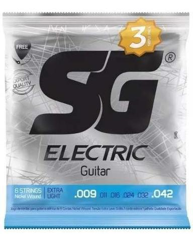 Imagem de Kit 3 Encordoamento Guitarra Sg 009 042 Extra Light