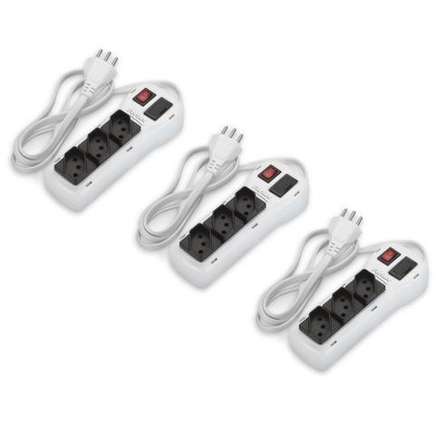 Imagem de Kit 3 Filtro de Linha Régua com 3 Tomadas Branco Bivolt Chave e Proteção
