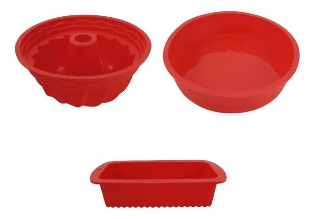 Imagem de Kit 3 Formas De Silicone Pão Retangular Redonda Pudim E Bolo