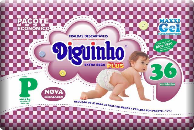 Imagem de Kit 3 Fraldas Diguinho Plus Economica P - 36 Unidades Revenda