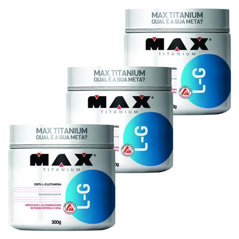 Imagem de KIT 3 GLUTAMINA L-G MAX 300g - MAX TITANIUM - Imunidade e Massa Muscular