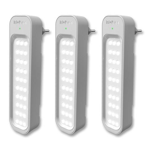 Imagem de Kit 3 Lâmpadas Luminárias De Emergência 30 Leds 1w Recarregável Bivolt - Intelbras LEA 150 - Instalação Fácil, Até 40m2