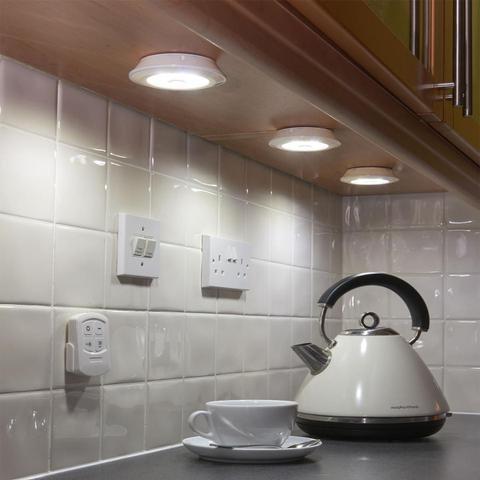 Imagem de Kit 3 Lampadas Luminárias Spot Led Sem Fio Controle Remoto Branco Frio