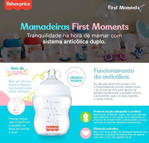 Imagem de Kit 3 Mamadeiras First Moments 150/270/330ml Fisher Price Azul