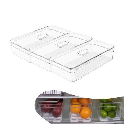 Imagem de Kit 3 Organizador Porta Mantimento 2,8L C/ Tampa Geladeira Fruta Verdura Clear Fresh - Ou