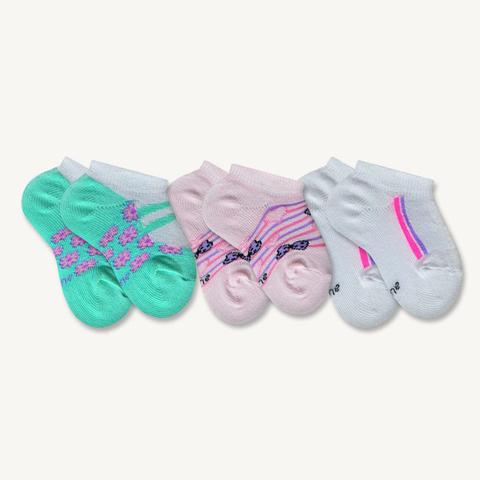 Imagem de Kit 3 Pares de Meias Sapatilha Bebê Sene Estampadas Rosa, Lilás e Verde 0 à 8 meses