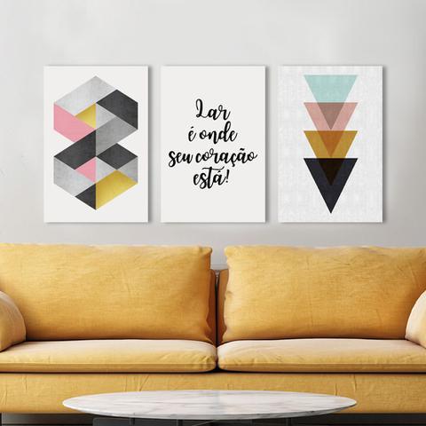 Imagem de Kit 3 Placas Decorativas Quadros Geométrica Colorida