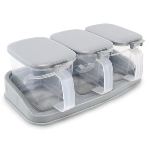 Imagem de Kit 3 Porta Condimentos Plástico Geladeira Mesa com 3 Potes