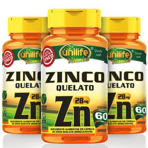Imagem de KIT 3 POTES - Zinco Quelato - 60 Cápsulas 28mg - Unilife Vitamins