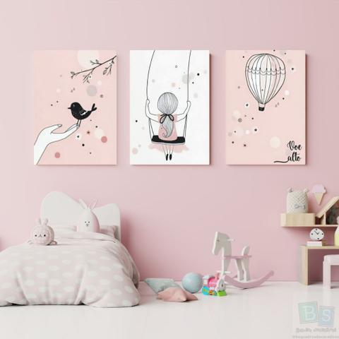 Imagem de Kit 3 Quadros Decorativos infantil  menina voe alto 20x28