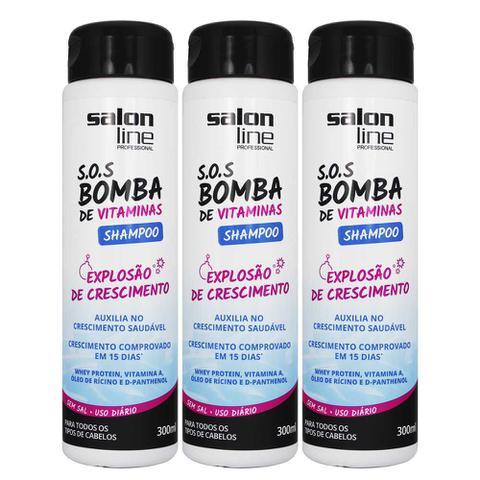 Imagem de Kit 3 Shampoo SOS Bomba Original 300ml - Salon Line