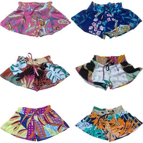 Imagem de Kit 3 Shorts Infantil Juvenil Menina Viscose Estampado