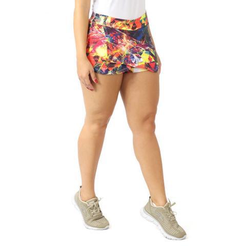 Imagem de Kit 3 Shorts Saia Feminino Fitness Cotton Estampado Academia