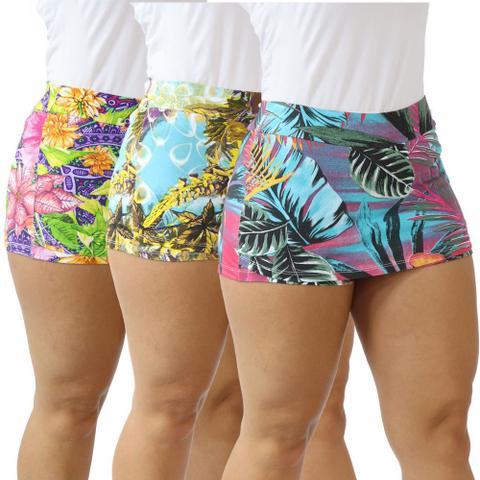Imagem de Kit 3 Shorts Saia Feminino Fitness Estampado Cotton Academia