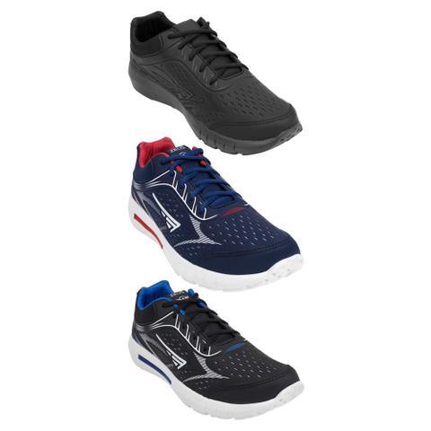 Imagem de Kit 3 Tênis Jogger Zeus Masculino Conforto Moderno Caminhada