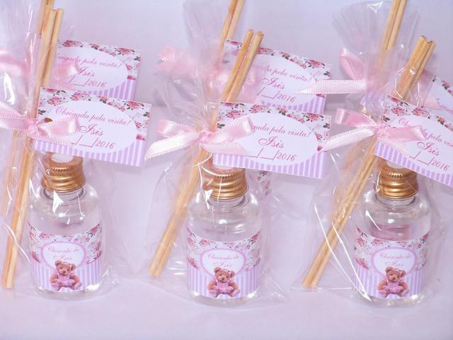 Imagem de Kit 30 Aromatizador Lembrancinha de Maternidade Chá de Bebê Flores Ursinha Rosa