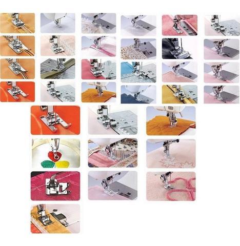 Imagem de Kit 32 Calcadores Maquina Costura Singer Janome Elgin Brother
