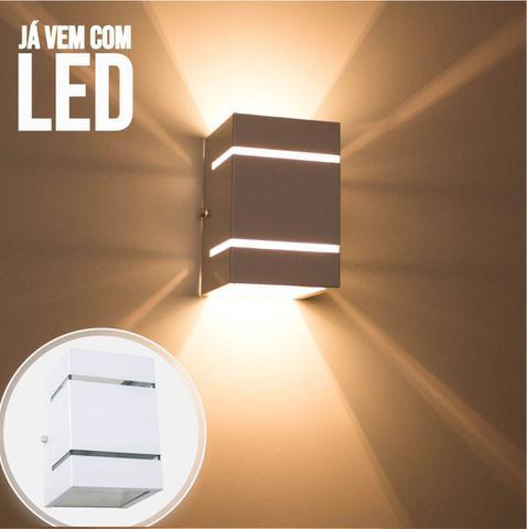 Imagem de kit 3x Arandela  Branca + LED 5W 3000K luminária Externa Parede Muro 2 Focos Frisos Fachos St327