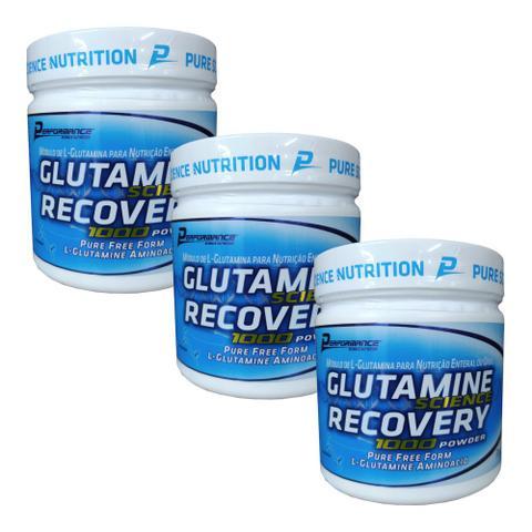 Imagem de Kit 3x Glutamina Science Recovery 300g Performance Nutrition