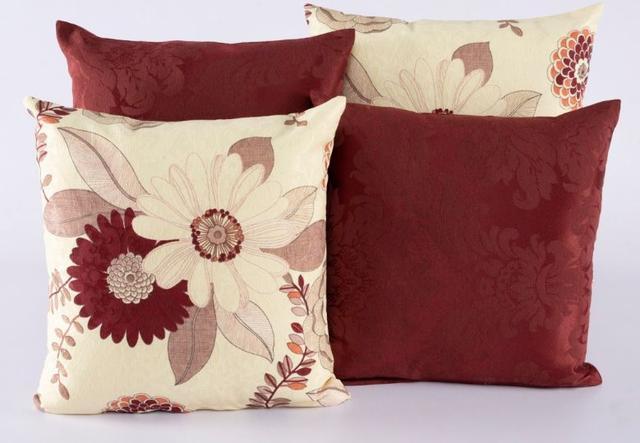 Imagem de Kit 4 Almofadas Jacquard Decorativas Sala Sofá 40x40 Vermelho