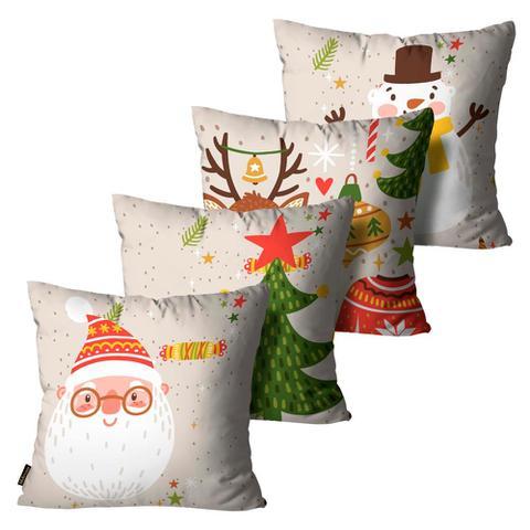 Imagem de Kit 4 Almofadas Mdecore Natal Papai Noel Bege