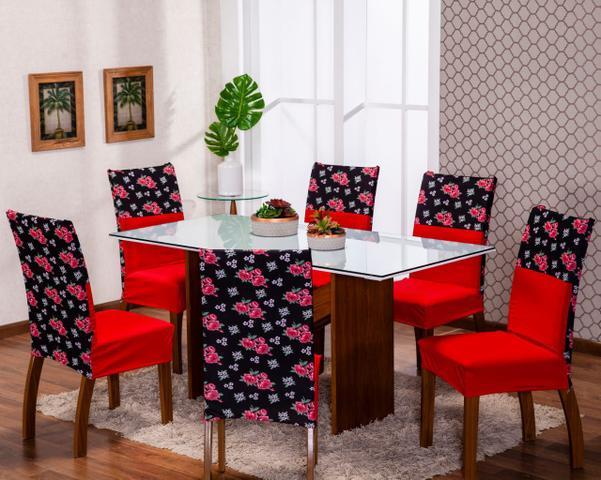 Imagem de Kit 4 Capas Para Cadeira Jantar Com Elástico Malha Estampa Digital Exclusiva Vermelho Floral
